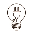 silhouette light bulb flat icon with plug shape vector image