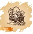 sketch - bakery shop loaf vector image vector image