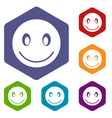smiling emoticon icons set vector image vector image