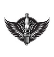 spark plug with wings vintage moto emblem vector image vector image