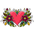 tattoo red heart decorated flowers leaves buds vector image vector image