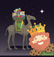 three kings selfie with king caspar camel and vector image vector image