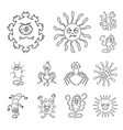 types of funny microbes outline icons in set vector image