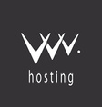 V letter or abstract web hosting sign logo vector image