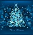 magic christmas tree on blue background vector image