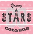 College athletic girls t-shirt typographygraphic vector image