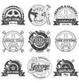 set of nine garage logo vector image
