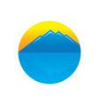 circle mountain sunset logo vector image