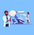 african american doctors team over dental office vector image