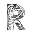 ancient antique capital letter r with an ornament vector image vector image