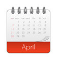 april 2019 calendar leaf template vector image
