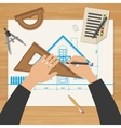 Architect at work vector image vector image