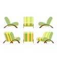 Armchair with wooden armsets and striped vector image