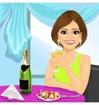 attractive woman dining at restaurant vector image vector image