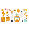 beekeeping apiculture icons vector image
