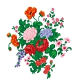 bouquet with red rose poppies and wild flowers vector image