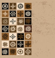 brown ethnic background with squares and sun vector image vector image