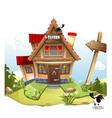 cartoon fairy house on a green hill vector image