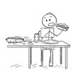 cartoon of man eating hotdog and drinking cola vector image