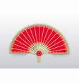 chinese fan made of paper and wood chinese style vector image vector image