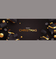 christmas banner 3d black and gold decoration vector image vector image