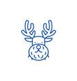 christmas deer line icon concept christmas deer vector image vector image