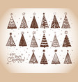 christmas doodles with set decorative vector image vector image