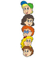 column with kids faces vector image vector image