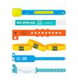 entrance bracelets for public concerts or hotel vector image vector image