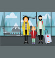 family at airport trendy young couple with baby vector image