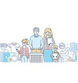 family shopping - modern colorful line design vector image vector image