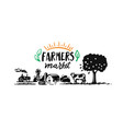 farm with cow tree and house farmer market text vector image vector image
