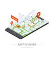fast delivery - modern colorful isometric vector image