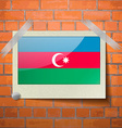 Flags Azerbaijan scotch taped to a red brick wall vector image