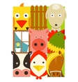 Flat Childish Rectangular Cattle Farm Animals Set vector image vector image