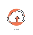 Flat lined cloud computing icon Data storage vector image vector image