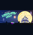 halloween poster with castle ghosts full moon vector image vector image