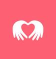 hand love pink valentine logo vector image vector image