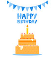 happy birthday card design with cake vector image vector image