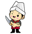 happy cook character is holding a kitchen knife vector image