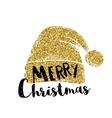 hat santa claus gold glitter design vector image