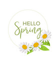 hello spring beautiful daisy wreath isolated vector image vector image