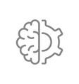 human brain with gear wheel line icon engineering vector image