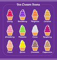 ice cream icons flat set vector image vector image