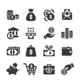 money and banking icon set vector image vector image