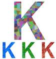 Mosaic font design - letter K vector image vector image