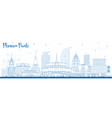 outline phnom penh cambodia city skyline with vector image