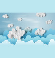 paper art of balloon white with cloud on blue sky vector image vector image