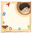 paper template with happy boy and alphabets vector image vector image