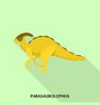 parasaurolophus dino icon flat style vector image
